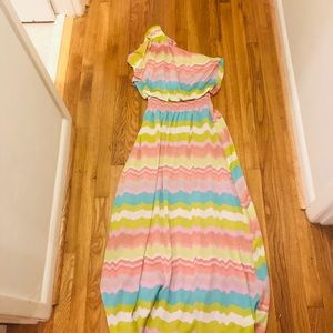 Jessica Simpson one shoulder multicolored maxi